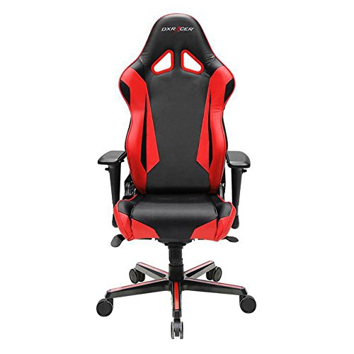 Cheap DXRacer OH/RV001/NR Black & Red Racing Series Gaming Chair Ergonomic High Backrest Office Computer Chair Esports Chair Swivel Tilt and Recline with Headrest and Lumbar Cushion + Warranty