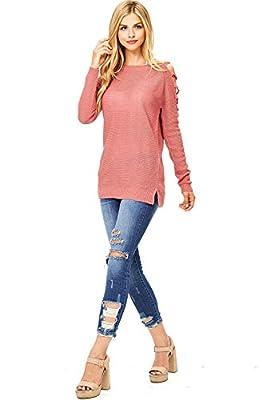 Zenana Women's Soft Knit Sweater w Shoulder Cutouts
