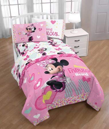 Disney Minnie Mouse Girls Twin Bedding Sheet Set
