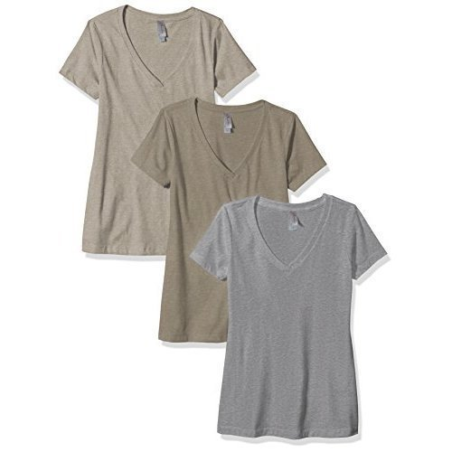 Clementine Apparel Women's Petite Plus Deep V Neck Tee (Pack of 3), Warm Stone Dark Heather Gray, XXL