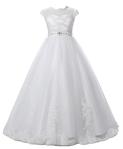 Belle House Girl's White Sheer Neck Long Pageant Ball Gown A Line Lace Applique Beaded Flower Girl Dresses With Sash (Girls In Sheer Dresses)