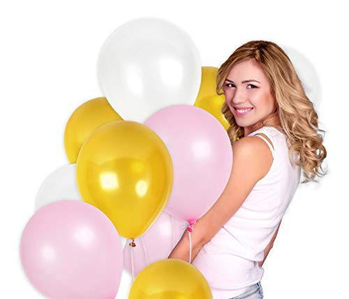 Metallic Gold Pink and White Balloons 12 Inch Latex Thick Balloon Pack of 100 and Curling Ribbon Party Kit for Birthday Baby Shower Wedding Supplies