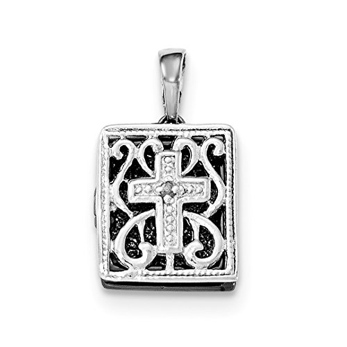 925 Sterling Silver Ruthenium Diamond 3d Bible Pendant Charm Necklace Religious Fine Jewelry For Women Gift Set