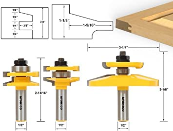 Yonico 12350 Shaker 3 Bit Raised Panel Cabinet Door Router Bit Set with Back-cutter Panel Raiser 1//2-Inch Shank