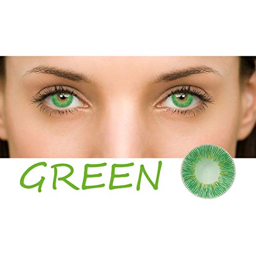 Multicolor Cute Charm and Attractive Daily Fashion Eyes Lenses Eyes Makeup Eye Shadow Cosplay Party (A Pair) (Green) ()