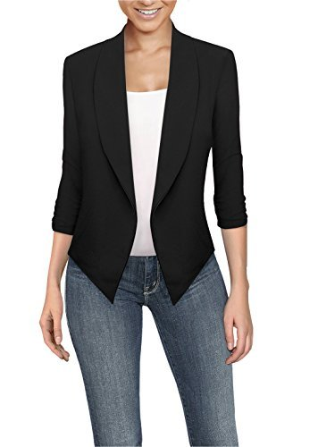 (Womens Casual Work Office Open Front Blazer JK1133 Black XLarge)