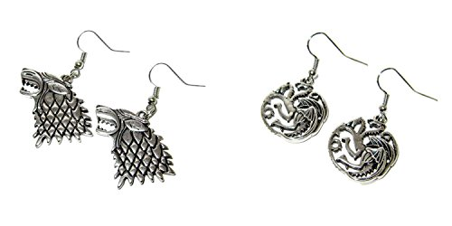 (2-Pack) Game of Thrones Dire Wolf and Targaryen Dragon Dangle Earrings with Gift (Dead Disney Princess Costume)