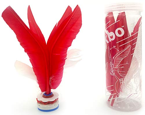 VIAHART Kikbo Kick Shuttlecock Cylinder (Jianzi, Chapteh, Da CAU, Jian Zi) | Great Change-up from Hacky Sack and Footbag (Red) | Includes One Complete Kikbo Shuttlecock and Four Replacement Feathers
