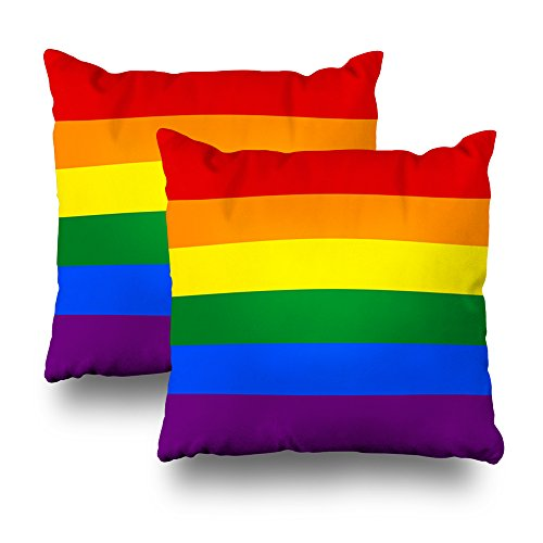 "Soopat Decorative Pillows Covers 18""X18"" Set Of 2 Two Sides Printed Lgbt Gay Pride 6 Stripe Rainbow Flag Throw Pillow Cases Decorative Home Decor Indoor/Outdoor Nice Gift Kitchen Garden Sofa Be from Soopat"