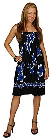 1 World Sarongs Womens Tube Top Sundress with Hibiscus Design in Black/Blue