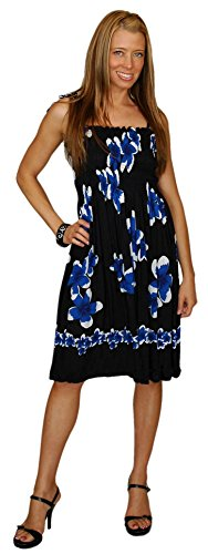 ns Tube Top Sundress with Hibiscus Design in Black/Blue (Hibiscus Sarong Dress)