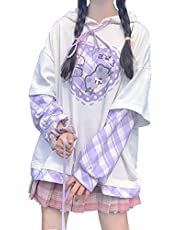 Kawaii Clothes Anime Hoodie Cute Pullover Kawaii Goth clothes e girl Vintage Y2k Aesthetic Tops Fake two