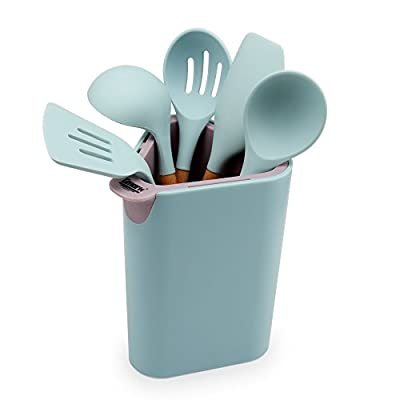 Gmark FDA approved Silicone Cooking Utensils w/ Beech Wood Handle 5 Piece Set in Utensil Holder Built-in Knife Organizer GM5118