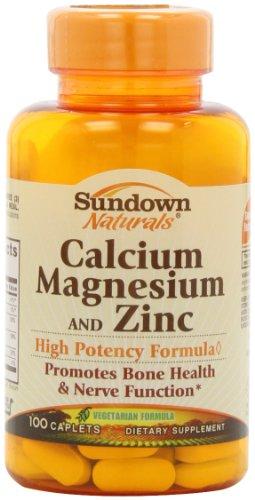 Sundown Naturals calcium, le magnésium et le Supplément de zinc, 100 comprimés