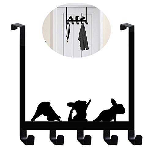 French Bulldog Yoga Frenchie Boston Terrier Shaped Over The Door Wall Hook]()