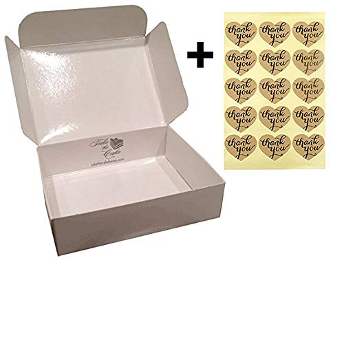 Wedding Cake Boxes for Guests with Bonus Heart Shaped Kraft Thank You Stickers for Wedding Favors