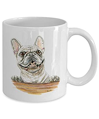 Smiling White French Bulldog Mug - Style No.2 - Cute Ceramic Frenchie Coffee Cup (15oz)