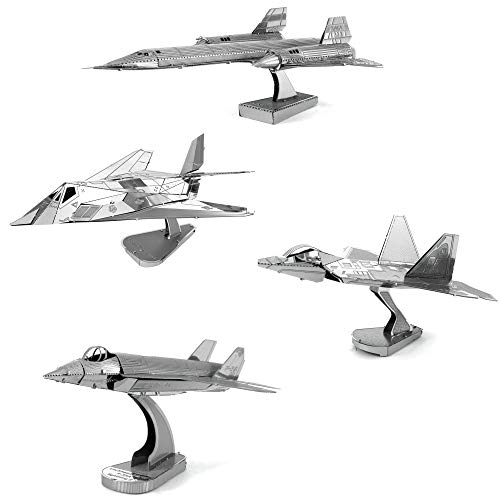 (Fascinations Metal Earth 3D Metal Model Kits Lockheed Martin Set of 4 - SR-71 Blackbird - F-22 Raptor - F-35 Lightning II - F-117)