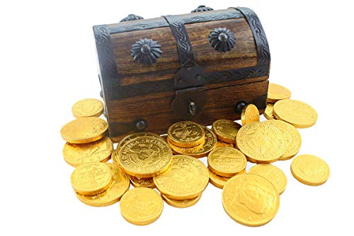 Wood Mini Pirate Treasure Chest Filled 25 Gold Foil Milk Chocolate Coins By WellPackBox -