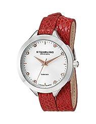 Stuhrling Original Women's 624.02 Vogue Swiss Quartz Genuine Diamond Red Wrap-Around Leather Strap Watch