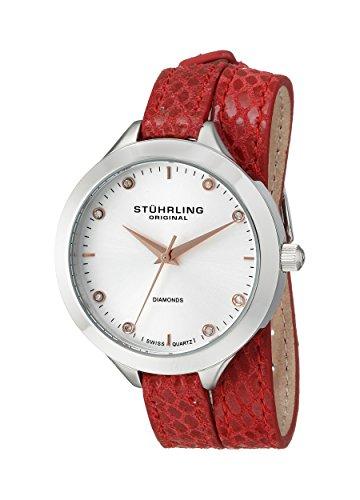 Stuhrling Original Women's 624.02 Vogue Swiss Quartz Diamond Double Wrap Red Watch