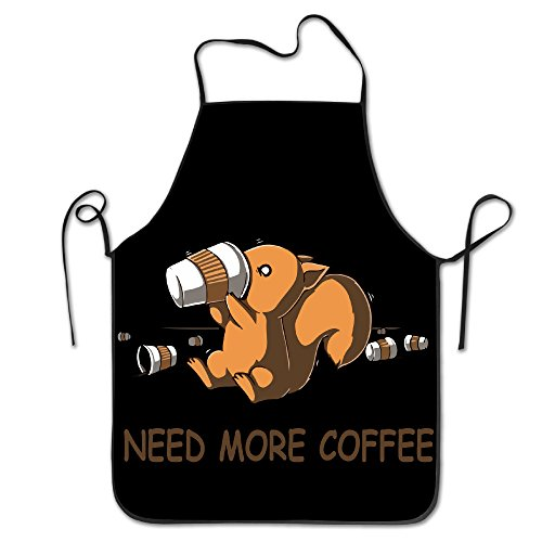 Badogbite Unisex Need More Coffee Squirrels Kitchen Cooking Grilling Apron Neck Straps Without Pockets Adjustable]()