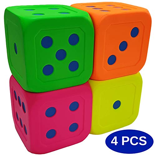Macro Giant 6 Inch Soft Foam Jumbo Big Playing Dice, Set of 4,Neon Color, Math Teaching, Teaching Aids, Board Games, Kid Toy