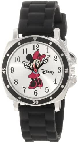 Disney Kids' MN1065 Minnie Mouse Watch with Black Rubber Band