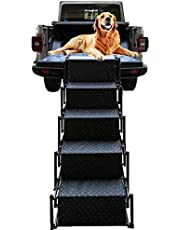 Pet Dog Car Step Stairs, Accordion Folding Pet Ramp for Indoor Outdoor Use, Lightweight Portable Auto Large Dog Ladder, Great for Cars, Trucks and SUVs Cargo, Sailboat, Couch and High Bed, 5 Steps