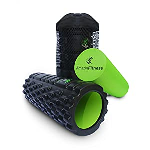 AmazinFitness Foam Roller 2 in 1 PLUS FREE BAG AND ONLINE VIDEO High Density EVA Textured Grid for Muscle Recovery and Trigger Point Massage, Perfect for Back Pain Relief, after Yoga or Sports.