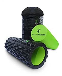 AmazinFitness Foam Roller 2 in 1 PLUS FREE BAG AND VIDEO High Density EVA Textured Grid for Muscle Recovery and Myofascial Trigger Point Massage, Perfect for Back Pain Relief, after Yoga or Sports.