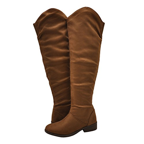 Faux Women's Qupid Suede Boot High Plateau Cognac Knee Casual 183BX FZgWIgq