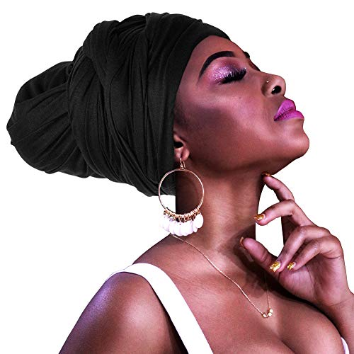 Homelix Solid Color Turbans Jersey Knit Head Wrap Stretch Long Hair Scarf Tie (Black)