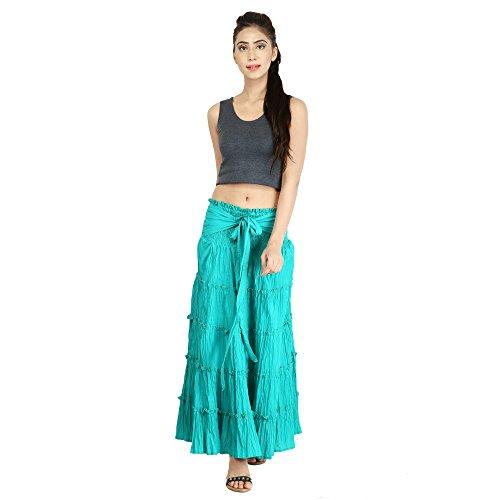 Tier Skirt (Fashion Farmers s Long Skirt, Long Tier Skirt, Cotton Skirt, Gypsy Skirt, Hippy Skirt, Bohemian Skirt, Beach Skirt. (C green))