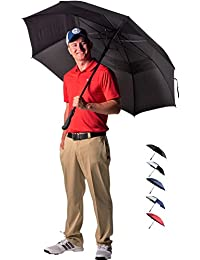 62/68 Inch Automatic Open Golf Umbrella - Extra Large Double Canopy Umbrella Is Windproof and Waterproof - Features Ergonomic Rubber Handle