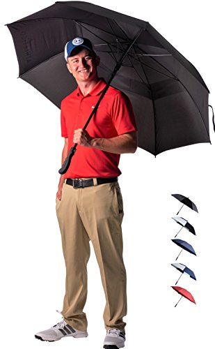 Athletico 68 Inch Automatic Open Golf Umbrella - Extra Large Double Canopy Umbrella is Windproof and Waterproof - Features Ergonomic Rubber Handle ()