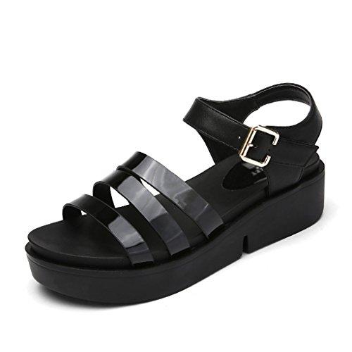 Sandales Zcjb Épais Été Chaussures Pour Femmes Femmes Bas Pente Romaine Loisirs À Bout Ouvert (couleur: Noir, Taille: 39) Noir