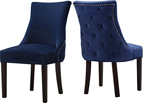 Meridian Furniture 774Navy-C Hannah Collection Modern | Contemporary Navy Velvet Upholstered Dining Chair with Wood Legs, Button Tufting, Nailhead Trim, Set of 2, 20.5
