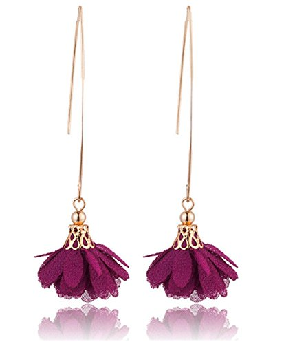 (IndigoEarrings Floating Faux Threader Flower Dangle Earrings (dark purple) )