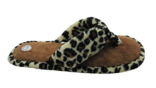 S & B Mode Frotté Bomullstyg W / Djurtryck Accenter Flip Flop Hus Tofflor För Kvinnor Leopard