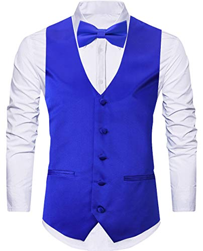 WANNEW 4pc Mens Tuxedo Vest Suit Vest Paisley Vest Set, with Bow Tie, Neck Tie & Pocket Hanky (Small, Royal Blue)