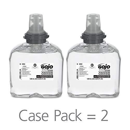 GOJO E2 Foam Handwash with BAK, Fragrance Free, 1200 mL Soap Refill for GOJO TFX Push-Style Dispenser (Pack of 2) - 6364-02
