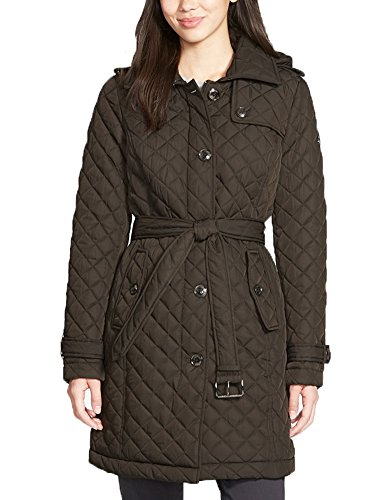 Michael Kors Women's Zip Up Quilted Trench Coat, Dark Moss (Large) (Michael Kors Trench Coat)