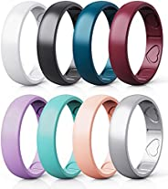 Qinaoco Silicone Rings for Women - Heart [I Love U] Pattern Airflow Inner Grooves Breathable Rubber Wedding Ri