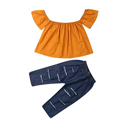 - Baby Girls Lace Off Shoulder Ruffle T Shirt Top+ Leopard Print Bell Bottom Pant Outfits Sets (6-12M, Yellow 3)