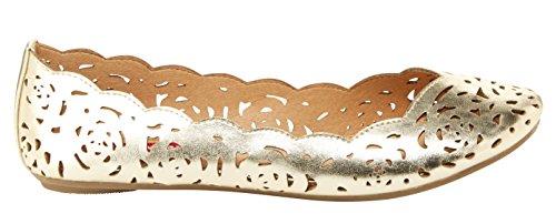 Cutout Flat Women's Gold Ballet Terry UNIONBAY Laser x8APxw