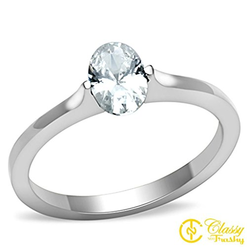 (Classy Not Trashy Women's Fashion Jewelry Ring, Premium Grade Stainless Steel Clear Cubic Zirconia CZ Oval Tension Set Ring Size 7)