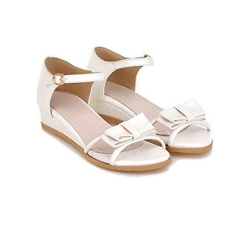 Allhqfashion Donna Tacco Basso Materiale Solido Fibbia Open Toe Zeppe-sandali Bianchi