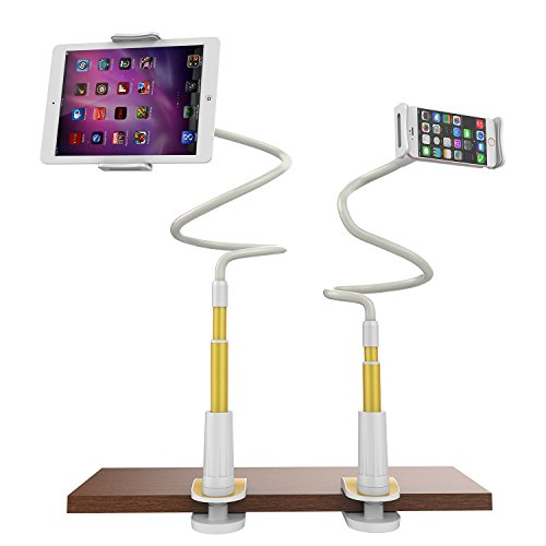 Gooseneck iPhone Holder/ iPad Stand, Universal Flexible Lazy Bracket Long Arm Clip for 4-10.6