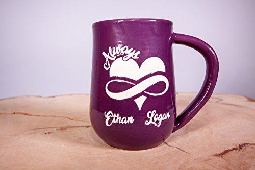 Personalized Always, Love, Infinity symbol Handmade Pottery coffee mug